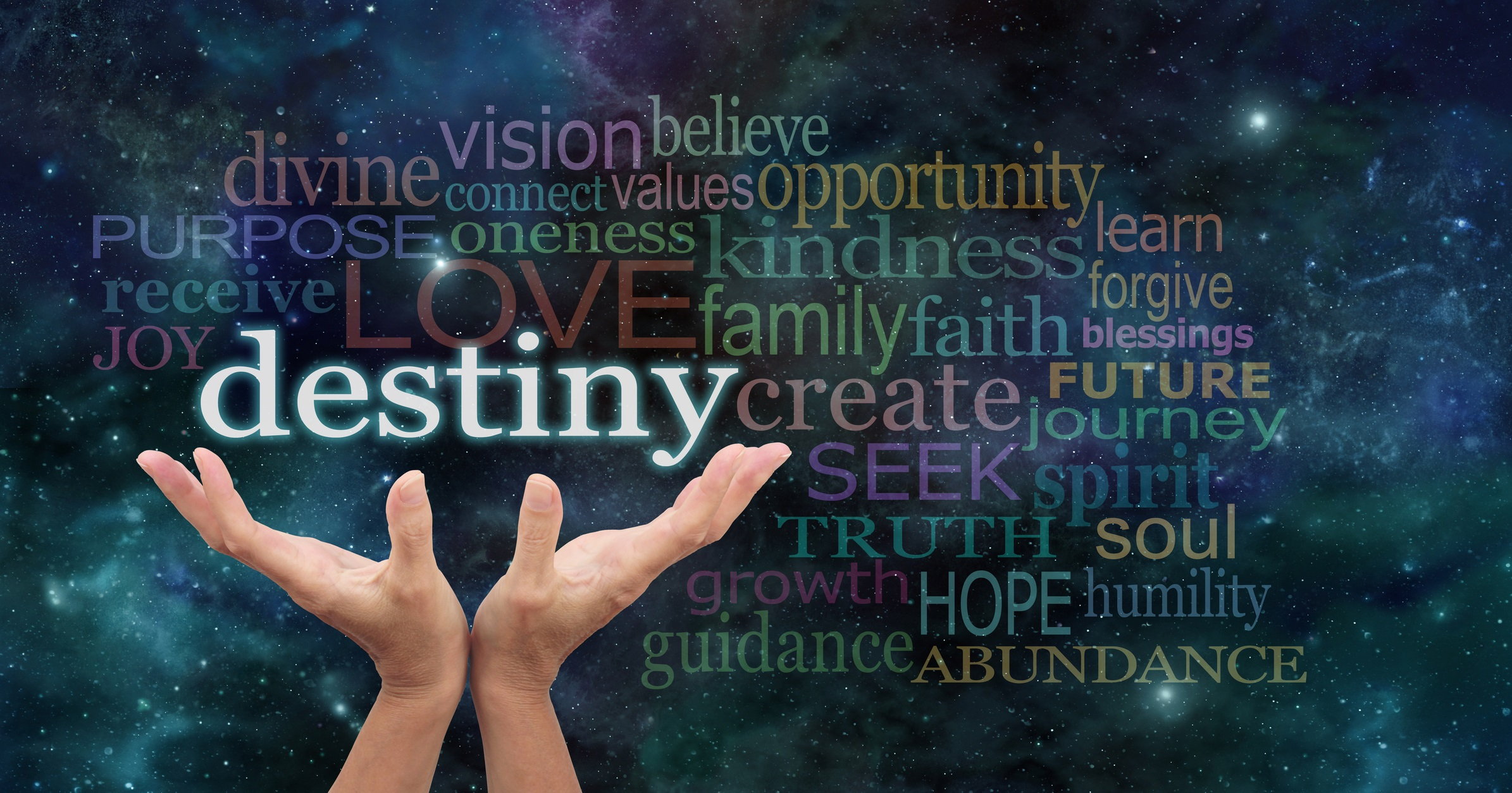 Female hands reaching up into the night sky with the word 'destiny' floating above, surrounded by a word cloud of wise words
